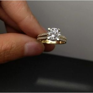Jewelry - NEW Solid Yellow Gold Women Solitaire Diamond Ring